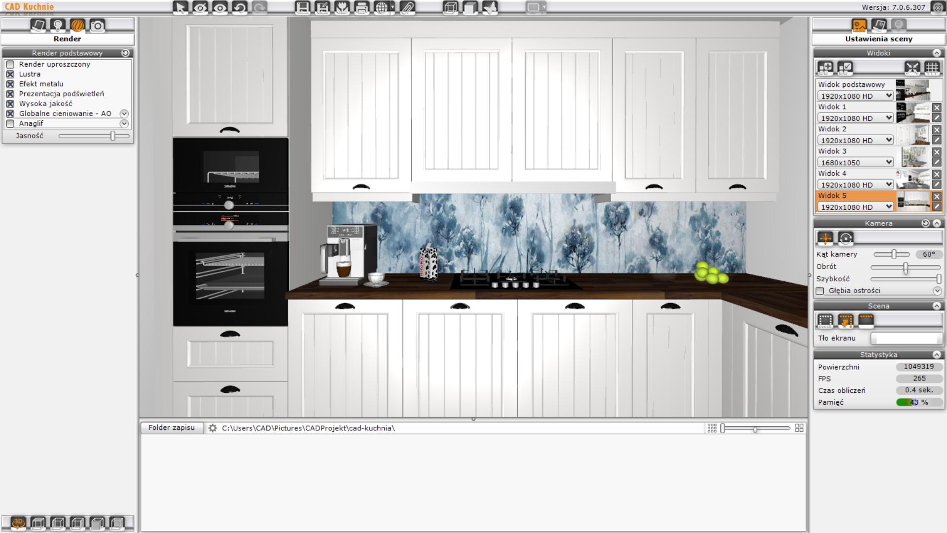 CAD Kuchnie Std - ustawienia sceny