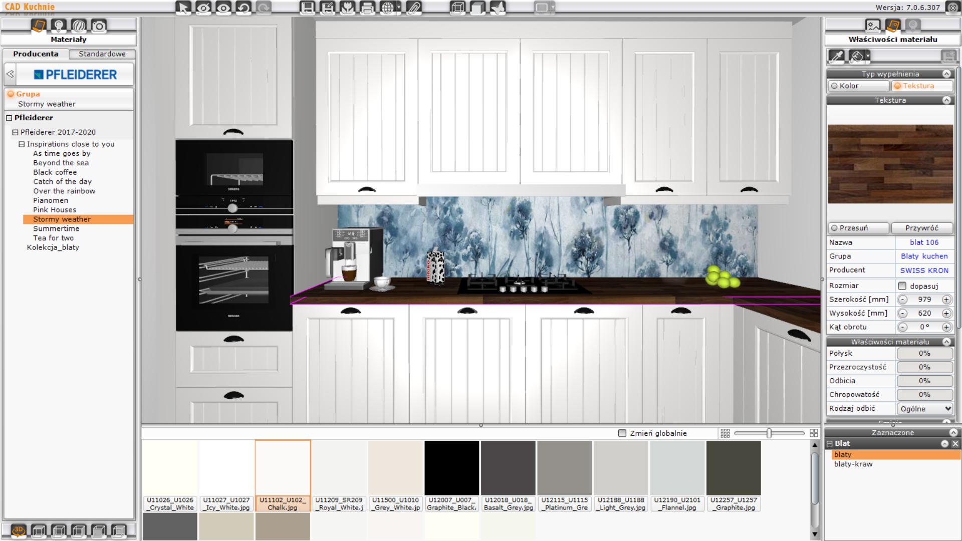 CAD Kuchnie Std - właściwości materiałów